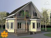 Проект брусовой дом с мансардой и эркером