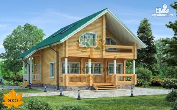 Фото: проект брусовой дом с балконом и террасой