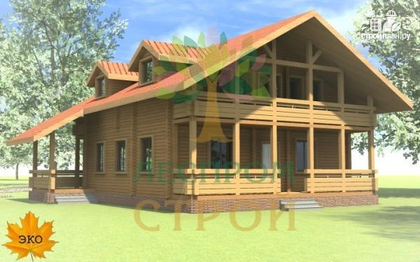 Фото: проект дом из бруса с сауной и террасой