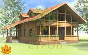 Проект дом из бруса с сауной и террасой