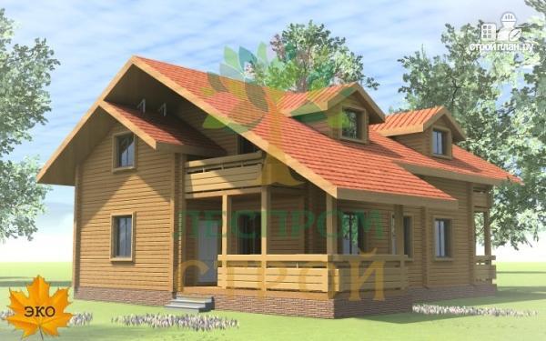 Фото 2: проект дом из бруса с сауной и террасой