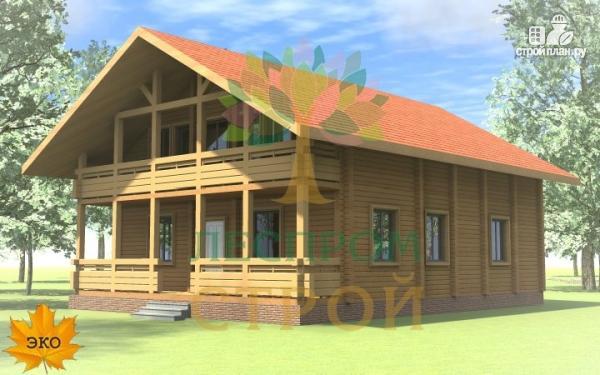 Фото 3: проект дом из бруса с сауной и террасой