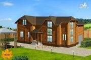 Фото: двухэтажный дом из бруса 150х150 мм со вторым светом