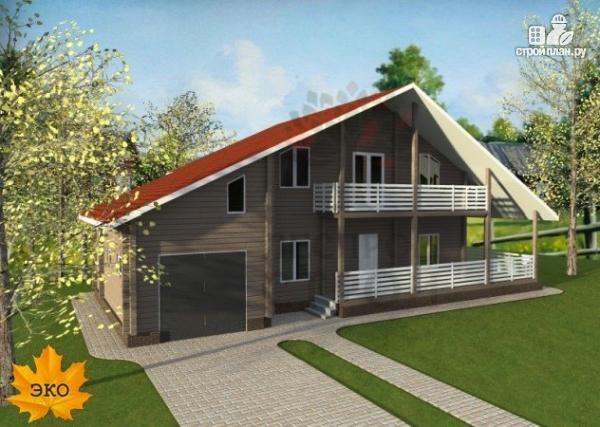 Фото 4: проект брусовой дом с гаражом с угловой террасой