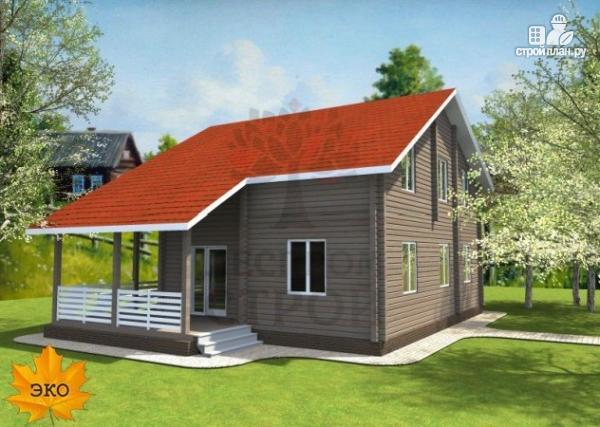 Фото 2: проект брусовой дом с гаражом с угловой террасой