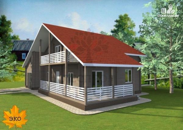 Фото 3: проект брусовой дом с гаражом с угловой террасой