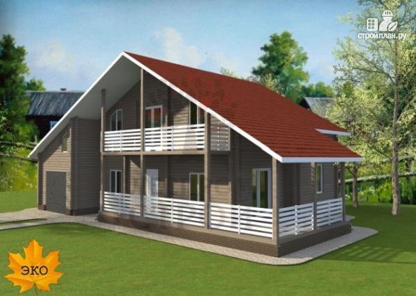 Фото: проект брусовой дом с гаражом с угловой террасой