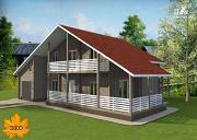 Проект брусовой дом с гаражом с угловой террасой