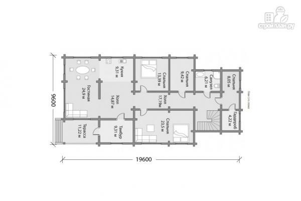 Фото 4: проект двухэтажный брусовой дом