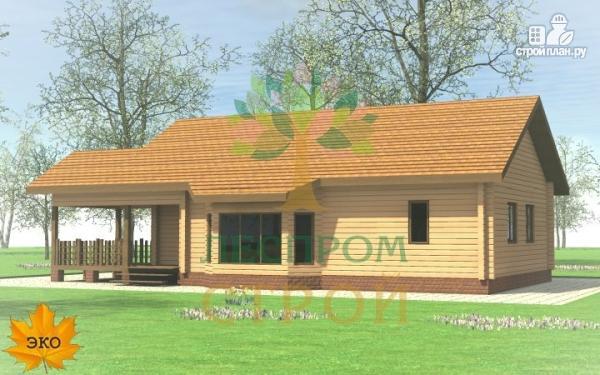 Фото: проект одноэтажный брусовой дом с террасой