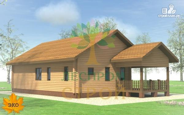 Фото 3: проект одноэтажный брусовой дом с террасой