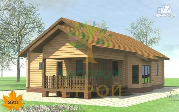Фото 2: проект одноэтажный брусовой дом с террасой