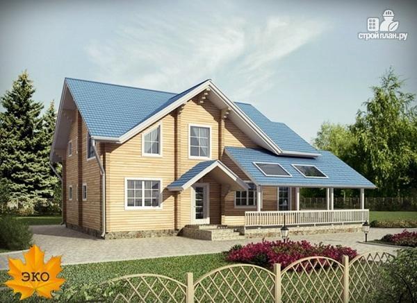 Фото: проект брусовой дом с угловой террасой