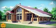Фото: дом из клееного бруса с террасой