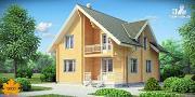 Фото: дом из клееного бруса с балконом
