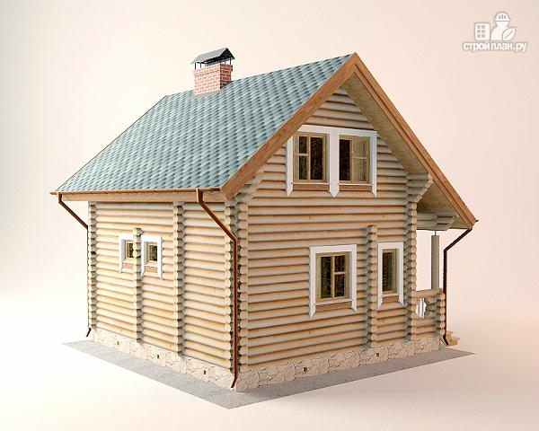 Фото 8: проект дом-баня 5.5х6.8 из оцилиндрованного бревна 220 мм