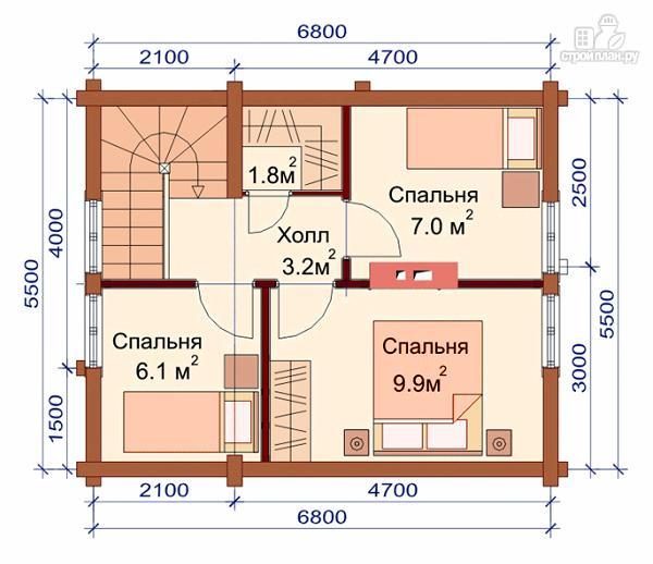 Фото 3: проект дом-баня 5.5х6.8 из оцилиндрованного бревна 220 мм