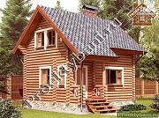 Проект дом-баня 5.5х6.8 из оцилиндрованного бревна 220 мм