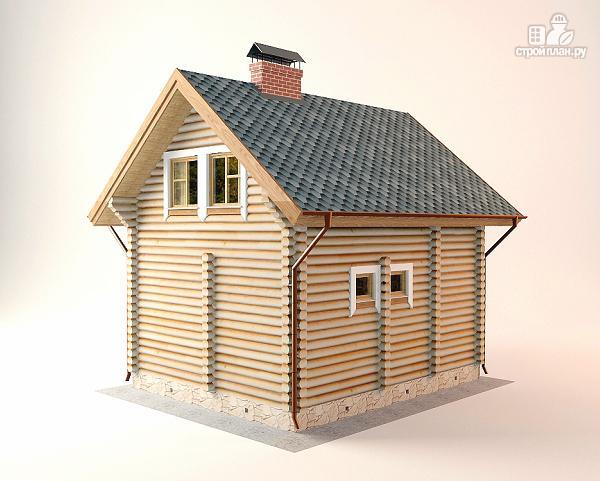 Фото 6: проект дом-баня 5.5х6.8 из оцилиндрованного бревна 220 мм