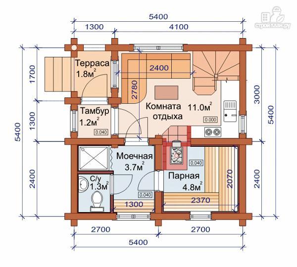 Фото 2: проект дом-баня 6х6 м с двумя спальнями