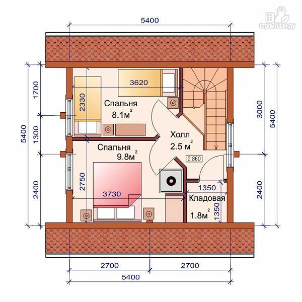 Фото 3: проект дом-баня 6х6 м с двумя спальнями
