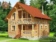 Фото: дом-баня 7.2х8.4 м из оцилиндрованного бревна 240 мм
