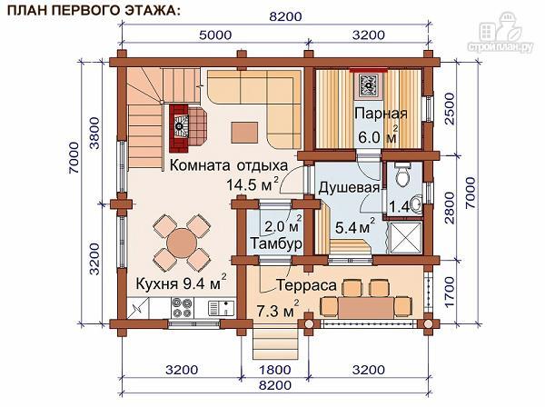 Фото 2: проект дом-баня 7.2х8.4 м из оцилиндрованного бревна 240 мм