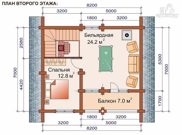 Фото 3: проект дом-баня 7.2х8.4 м из оцилиндрованного бревна 240 мм