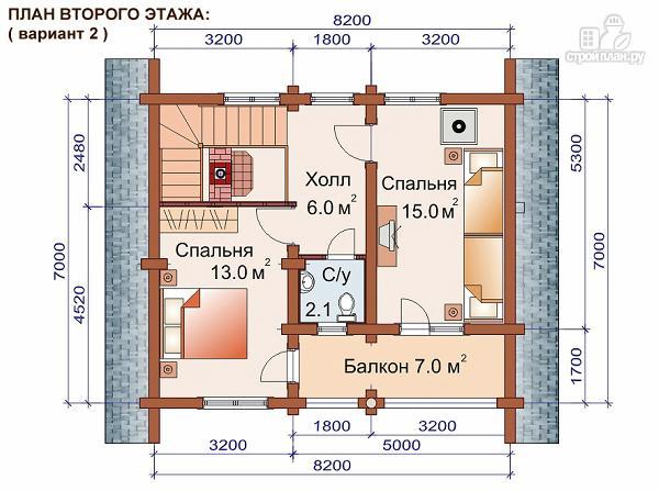 Фото 4: проект дом-баня 7.2х8.4 м из оцилиндрованного бревна 240 мм