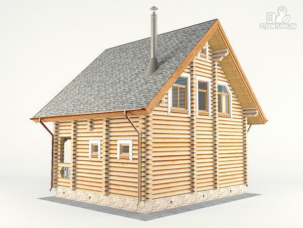 Фото 9: проект дом-баня 7.2х8.6 м из оцилиндрованного бревна 240 мм