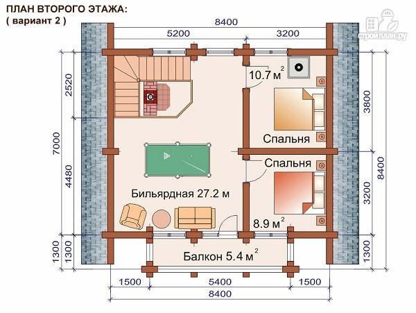 Фото 4: проект дом-баня 7.2х8.6 м из оцилиндрованного бревна 240 мм