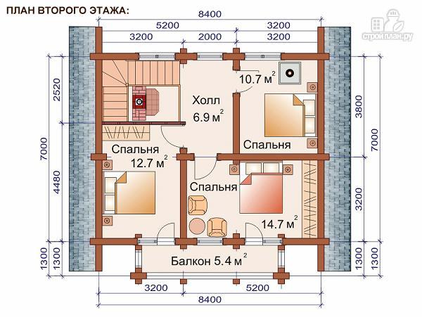 Фото 3: проект дом-баня 7.2х8.6 м из оцилиндрованного бревна 240 мм