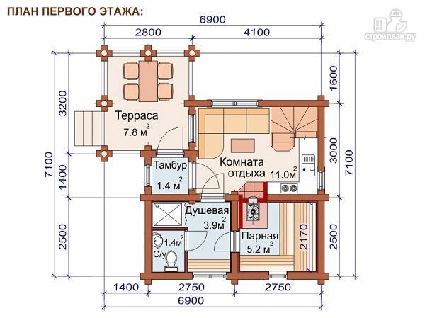 Фото 2: проект двухэтажный дом-баня 6х6 м с террасой