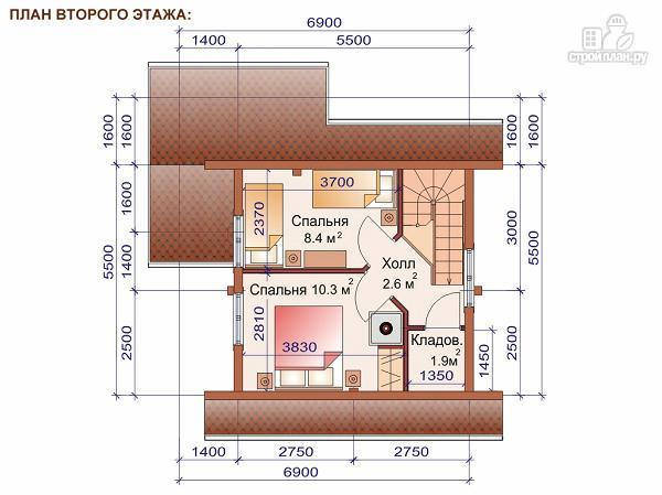 Фото 3: проект двухэтажный дом-баня 6х6 м с террасой