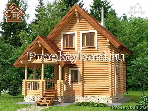 Фото: проект двухэтажный дом-баня 6х6 м с террасой