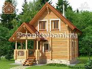 Проект двухэтажный дом-баня 6х6 м с террасой