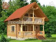Проект дом-баня 5.7х7.4 из оцилиндрованного бревна 200 мм