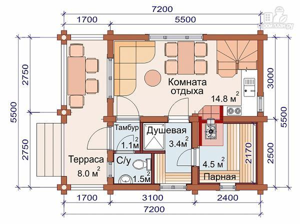 Фото 2: проект дом-баня 5.7х7.4 из оцилиндрованного бревна 200 мм