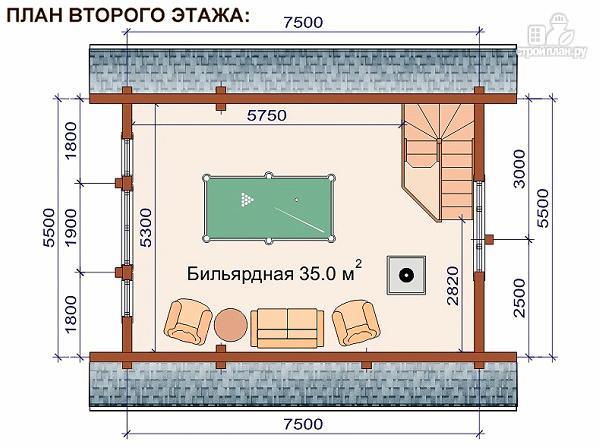 Фото 3: проект домик для отдыха с бильярдной комнатой