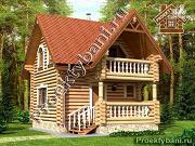 Проект дом-баня 6х6 м из оцилиндрованного бревна 260 мм