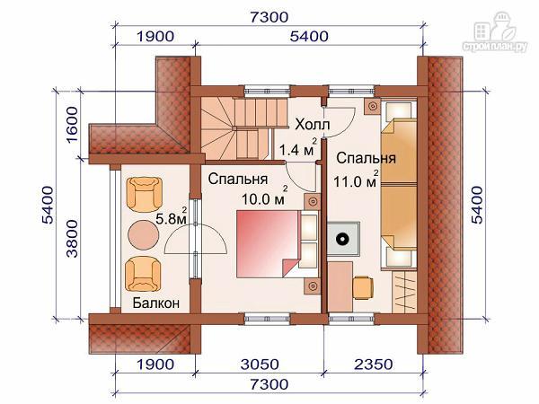 Фото 3: проект дом-баня 6х6 м из оцилиндрованного бревна 260 мм