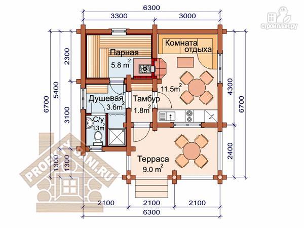 Фото 2: проект одноэтажная баня с просторной террасой 6.7 х 6.3 м