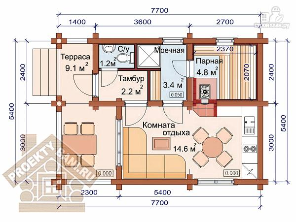 Фото 2: проект одноэтажная баня 5.4 х 7.7м