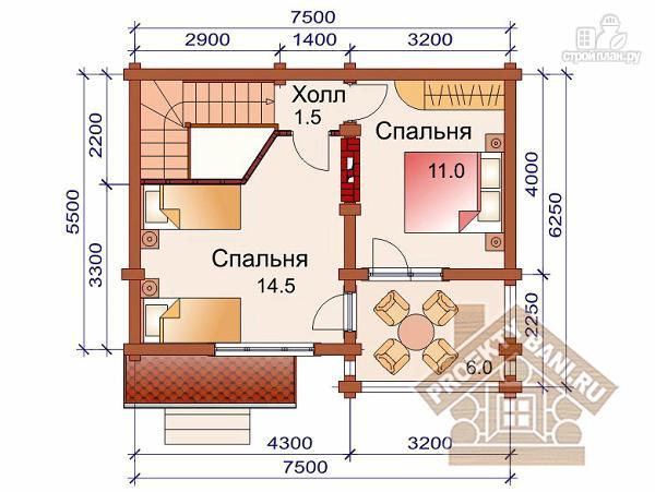 Фото 3: проект компактный дом-баня из бревна 5.5 х 7.5