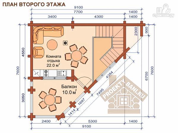Фото 3: проект угловая двухэтажная баня 7.8 х 9.3 м