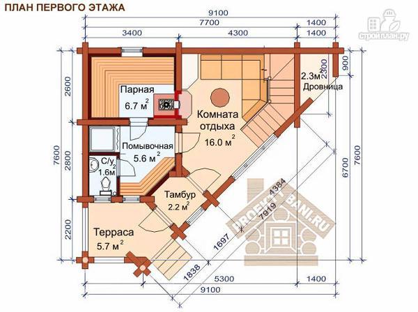 Фото 2: проект угловая двухэтажная баня 7.8 х 9.3 м