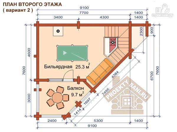 Фото 5: проект угловая двухэтажная баня 7.8 х 9.3 м