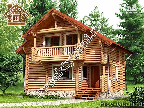 Фото: проект дом-баня с тремя спальнями и балконом