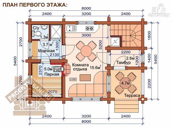 Фото 2: проект дом-баня с тремя спальнями и балконом