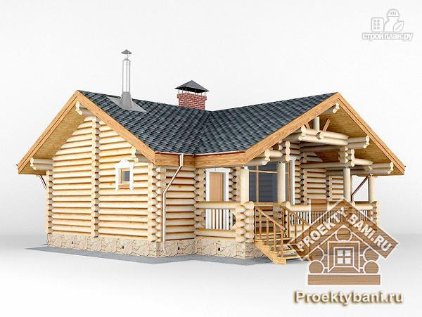 Фото 5: проект одноэтажный дом баня с двумя или тремя спальнями